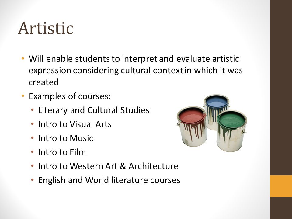 Artistic Will enable students to interpret and evaluate artistic expression considering cultural context in which it was created.