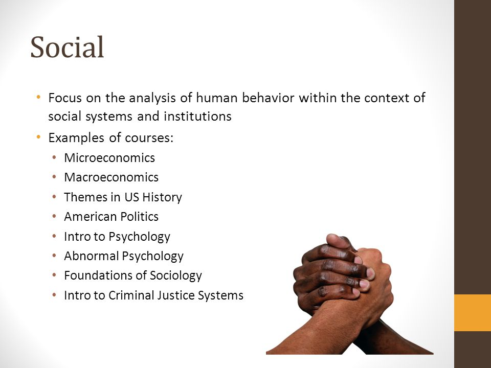 Social Focus on the analysis of human behavior within the context of social systems and institutions.