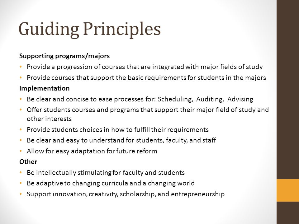 Guiding Principles Supporting programs/majors