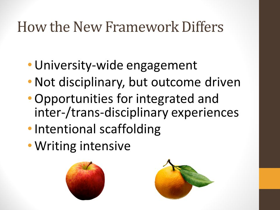 How the New Framework Differs