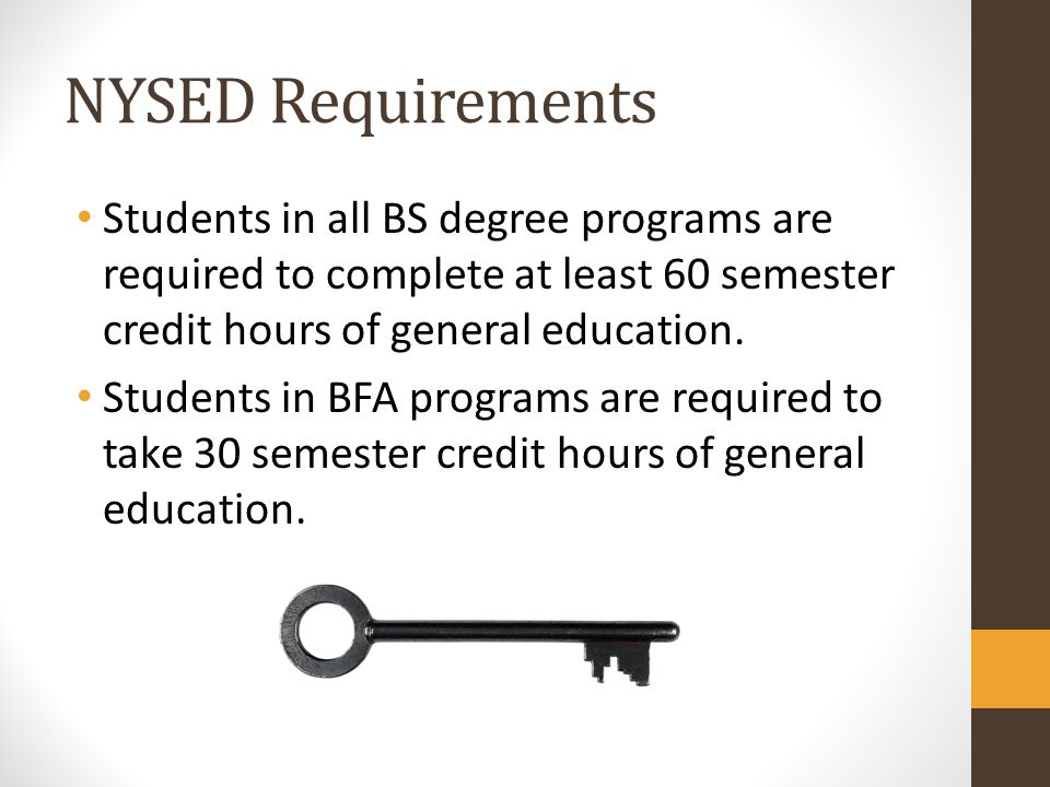 NYSED Requirements Students in all BS degree programs are required to complete at least 60 semester credit hours of general education.