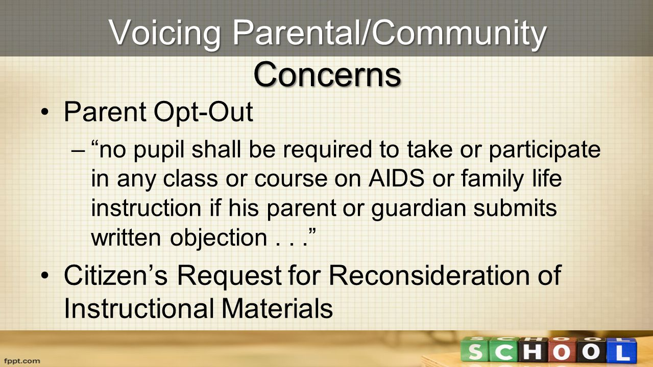Voicing Parental/Community Concerns
