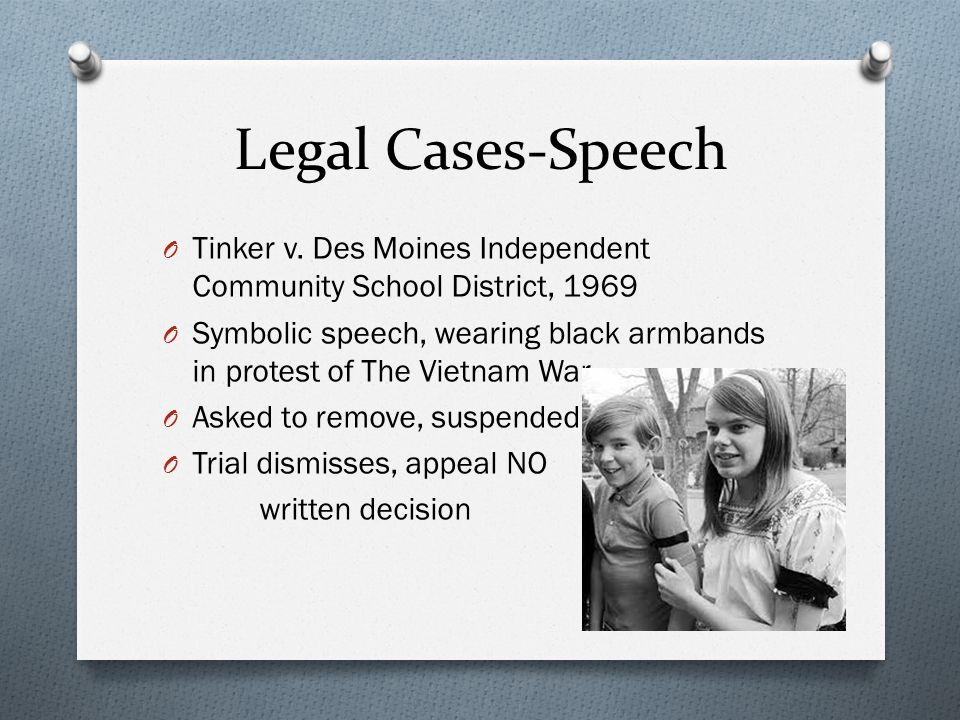Legal Cases-Speech Tinker v. Des Moines Independent Community School District, 1969.