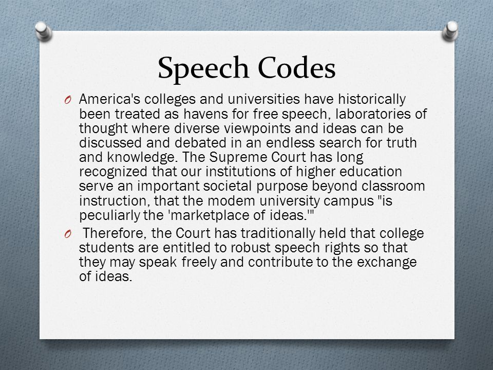 Speech Codes