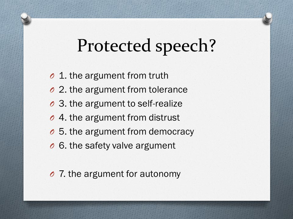 Protected speech 1. the argument from truth