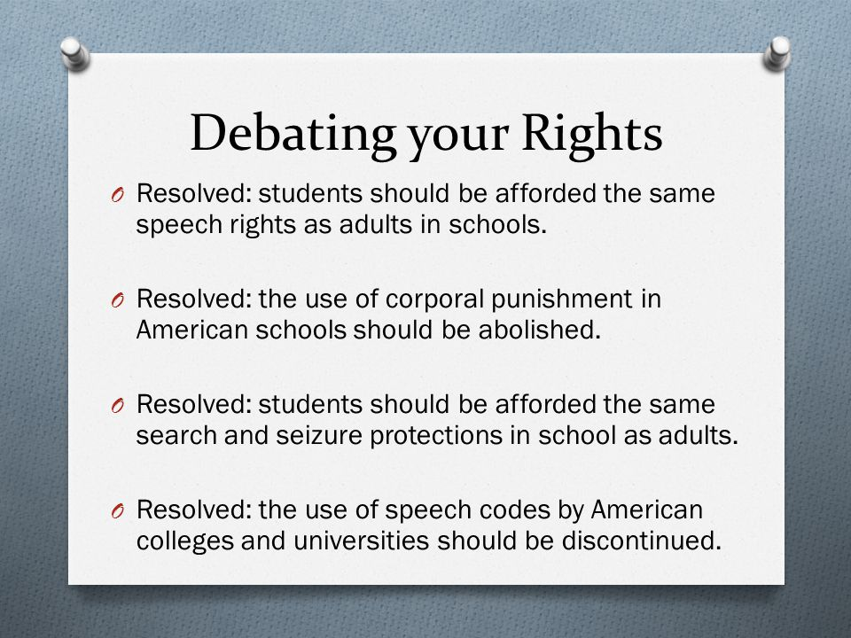 Debating your Rights Resolved: students should be afforded the same speech rights as adults in schools.