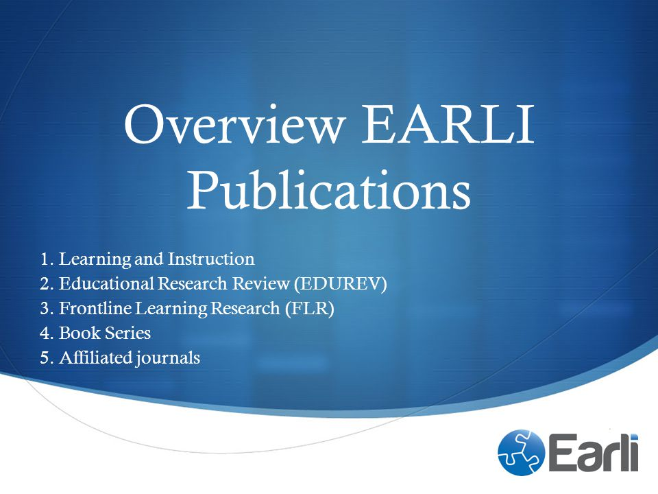 Overview EARLI Publications