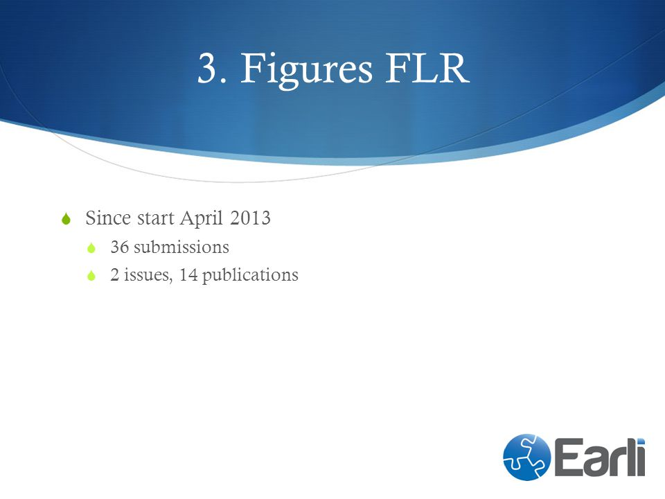 3. Figures FLR Since start April 2013 36 submissions