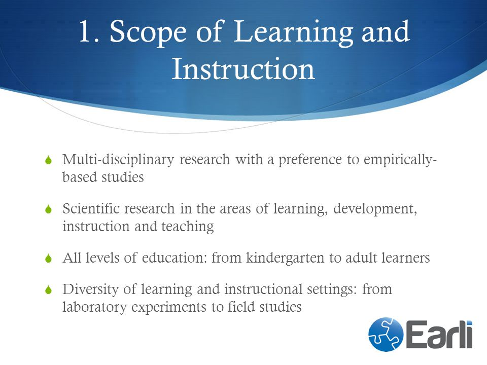 1. Scope of Learning and Instruction