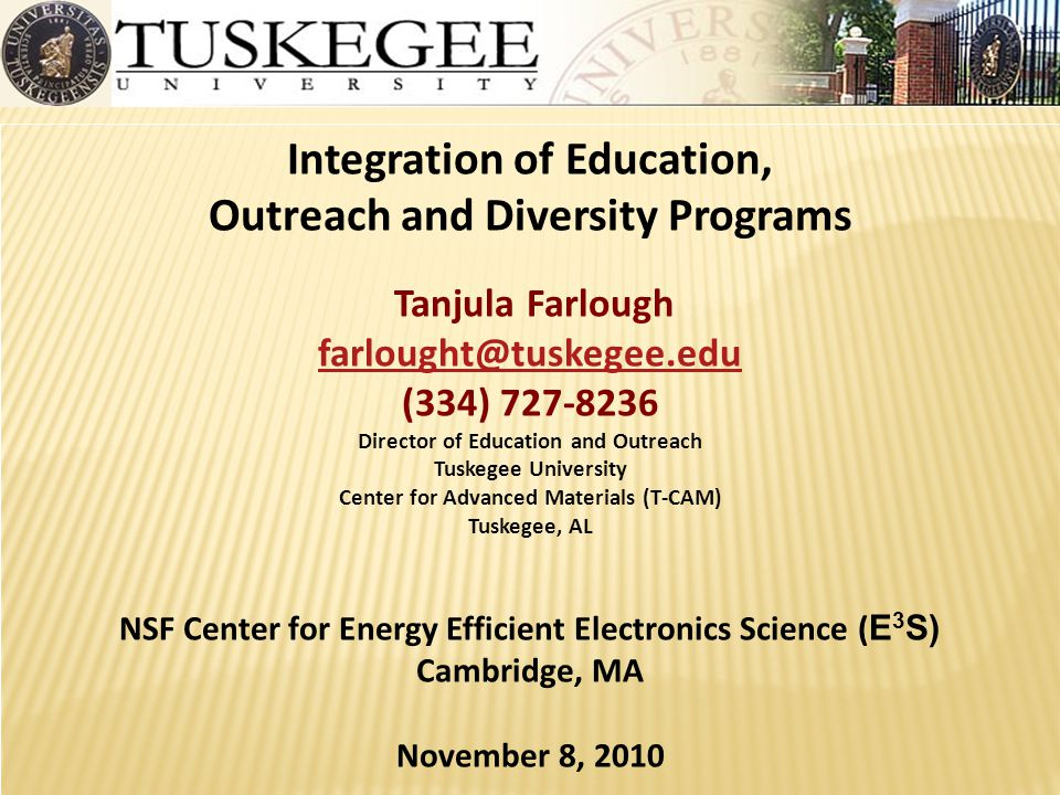 Integration of Education, Outreach and Diversity Programs