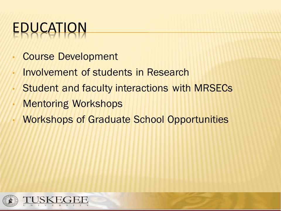 Education Course Development Involvement of students in Research