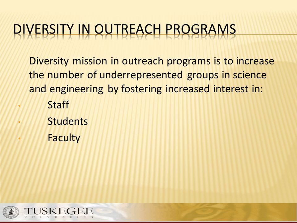DIVERSITY in outreach programs
