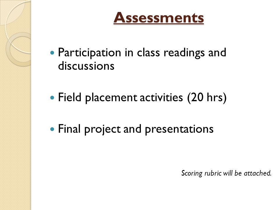 Assessments Participation in class readings and discussions