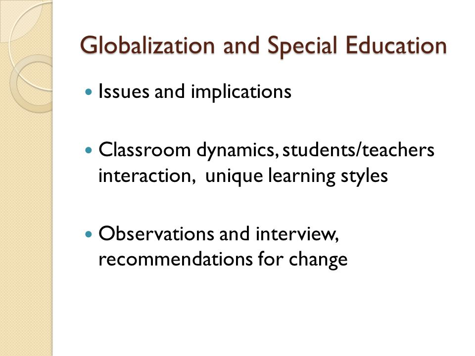 Globalization and Special Education
