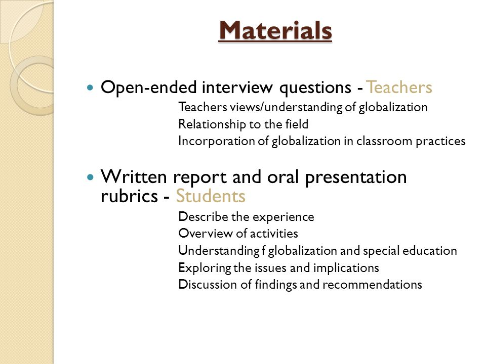 Materials Written report and oral presentation rubrics - Students