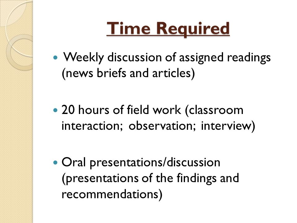 Time Required Weekly discussion of assigned readings (news briefs and articles)