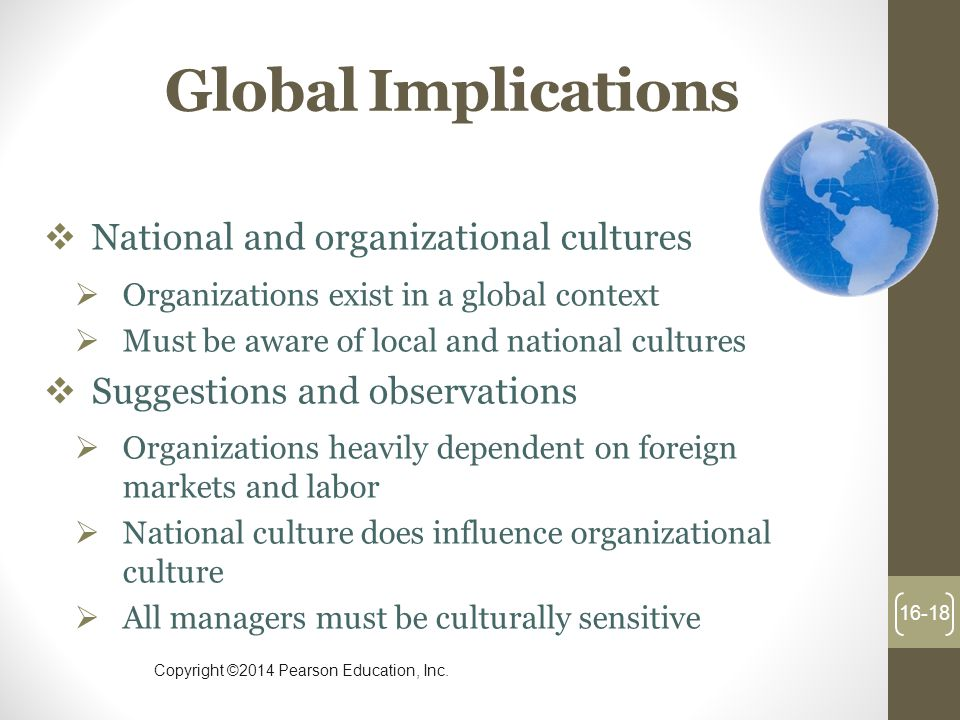 Global Implications National and organizational cultures