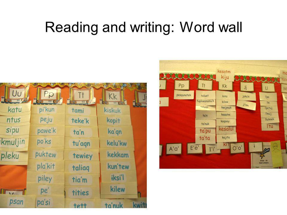 Reading and writing: Word wall
