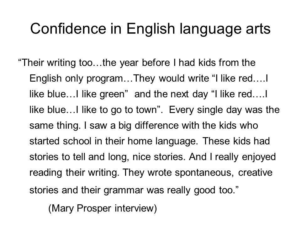 Confidence in English language arts