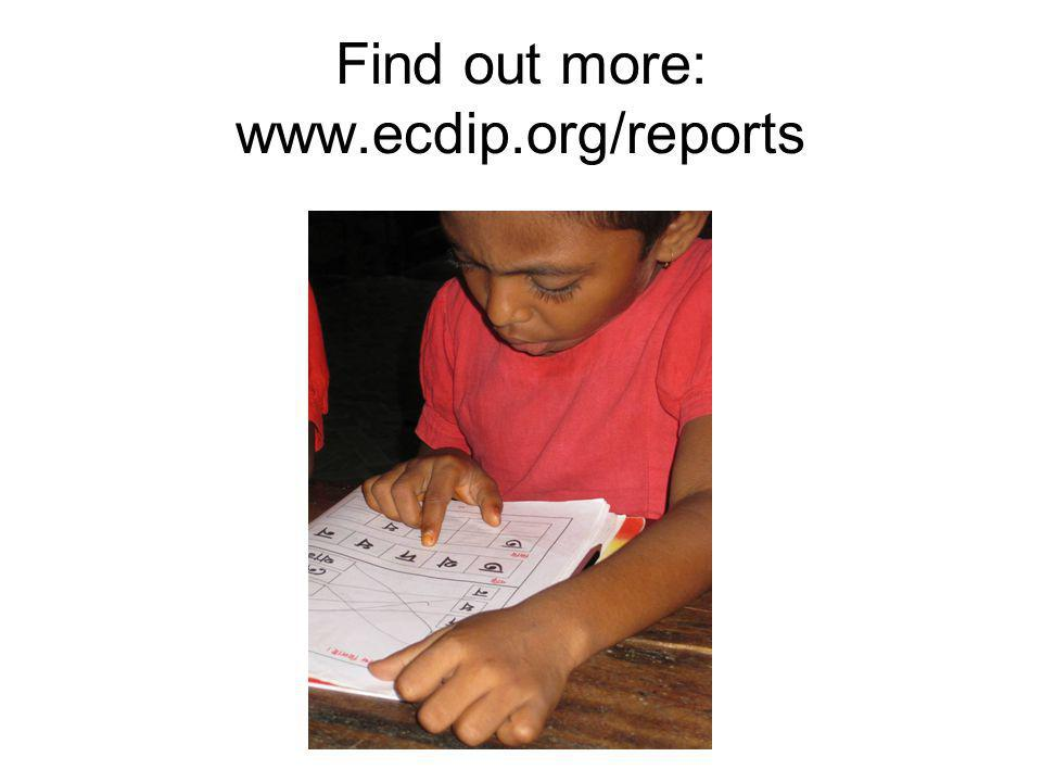 Find out more: www.ecdip.org/reports