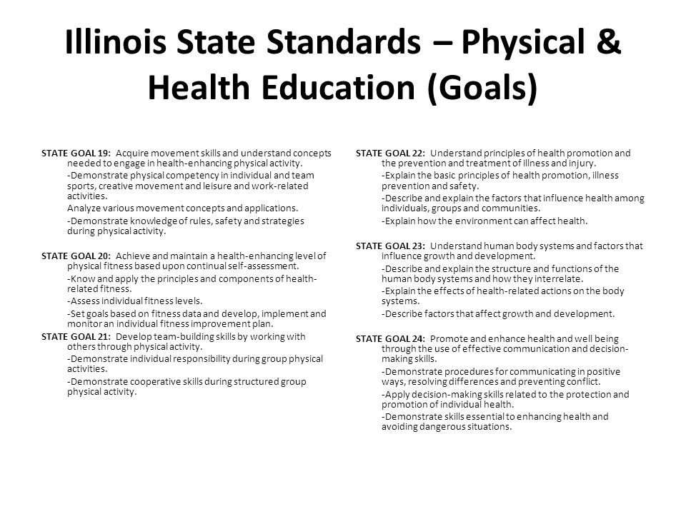 Illinois State Standards – Physical & Health Education (Goals)