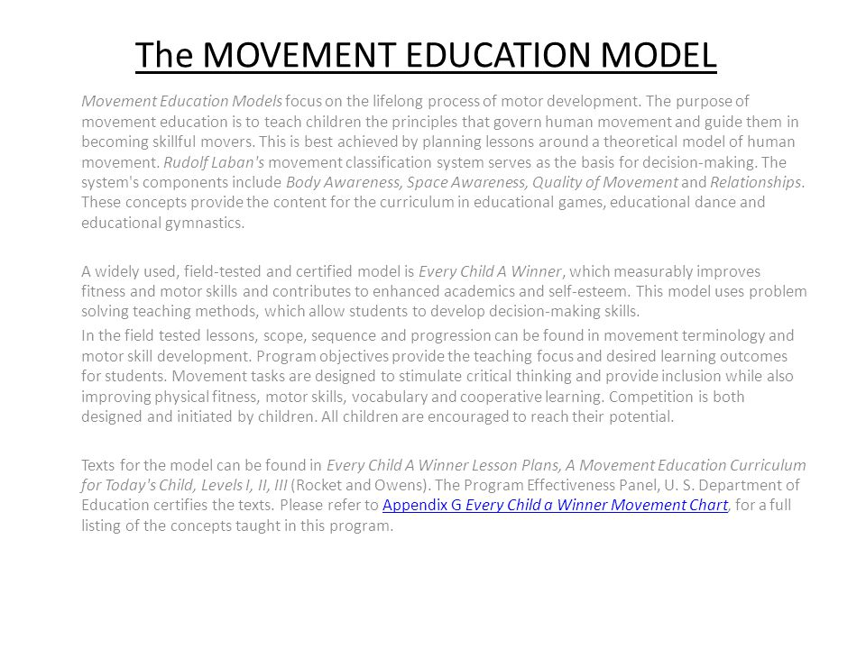 The MOVEMENT EDUCATION MODEL
