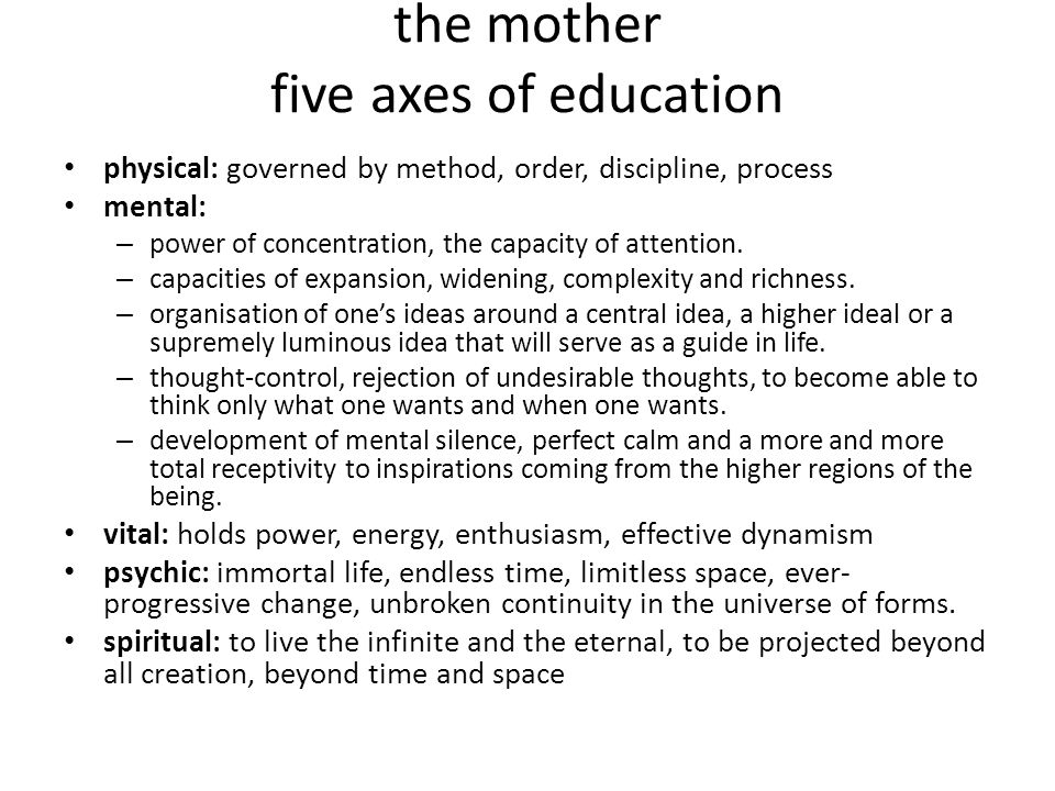 the mother five axes of education