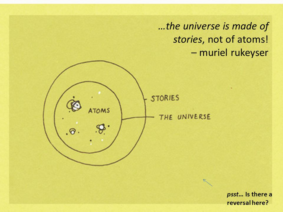 …the universe is made of stories, not of atoms! – muriel rukeyser