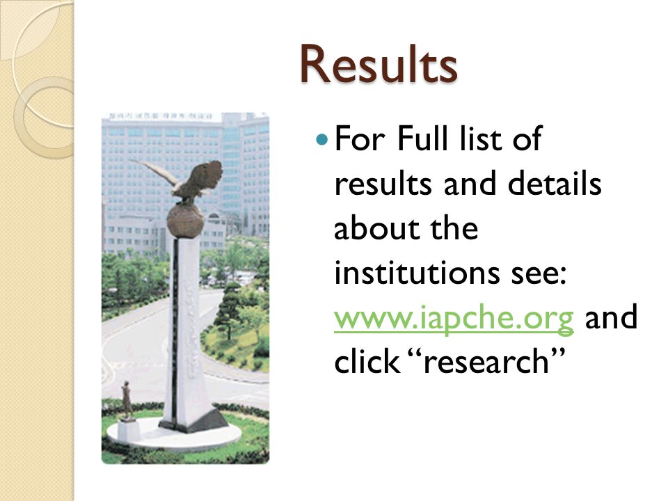Results For Full list of results and details about the institutions see: www.iapche.org and click research