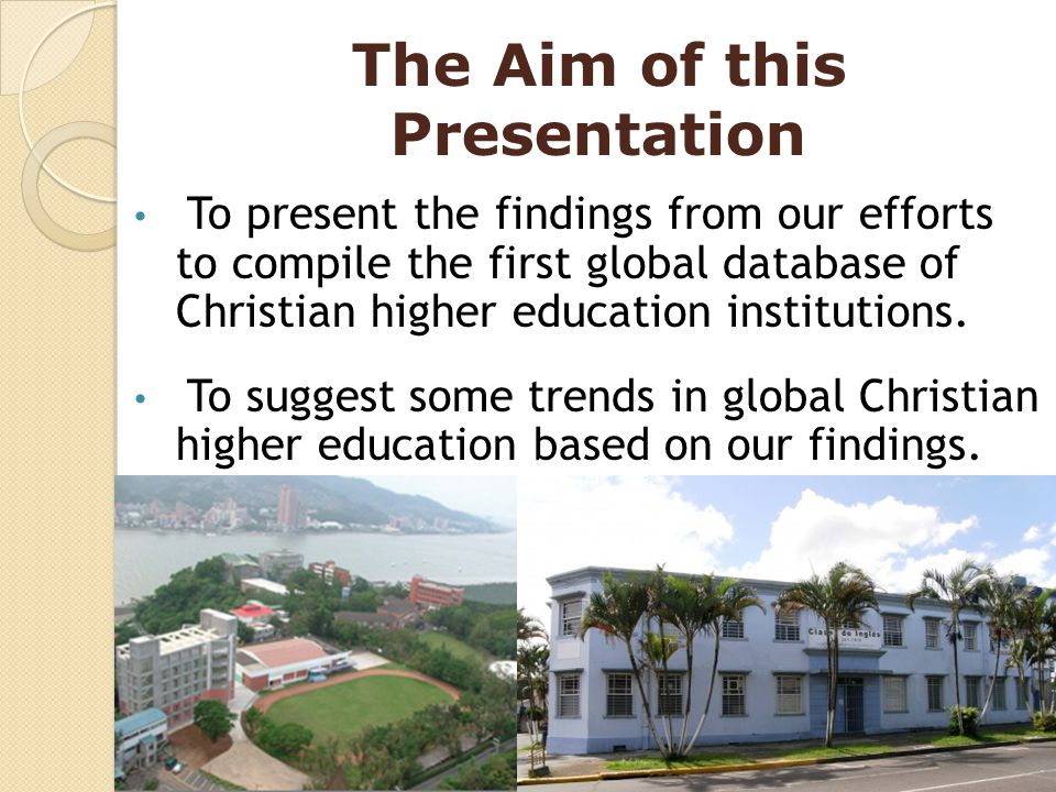 The Aim of this Presentation