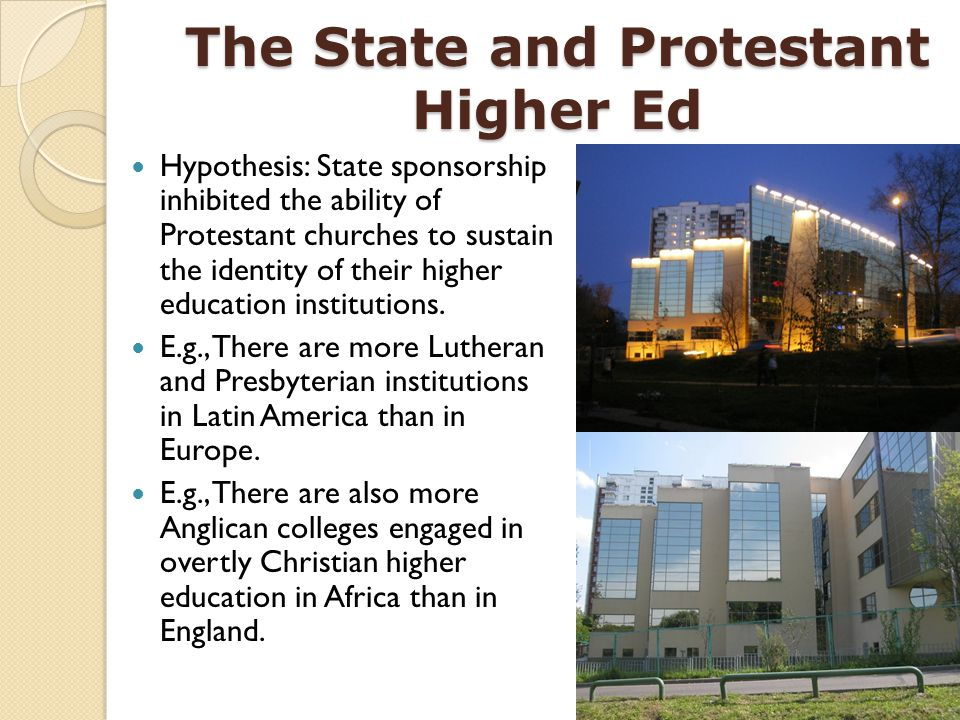 The State and Protestant Higher Ed