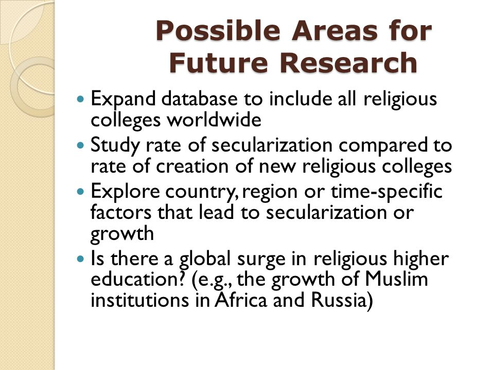 Possible Areas for Future Research