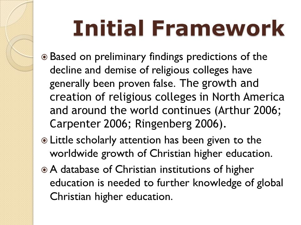 Initial Framework