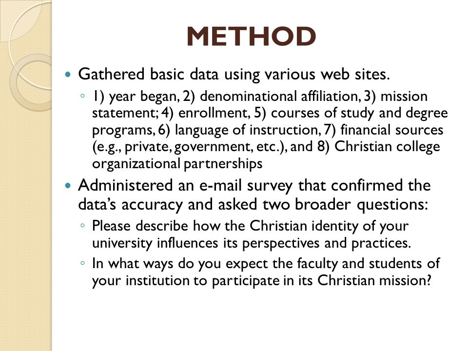METHOD Gathered basic data using various web sites.