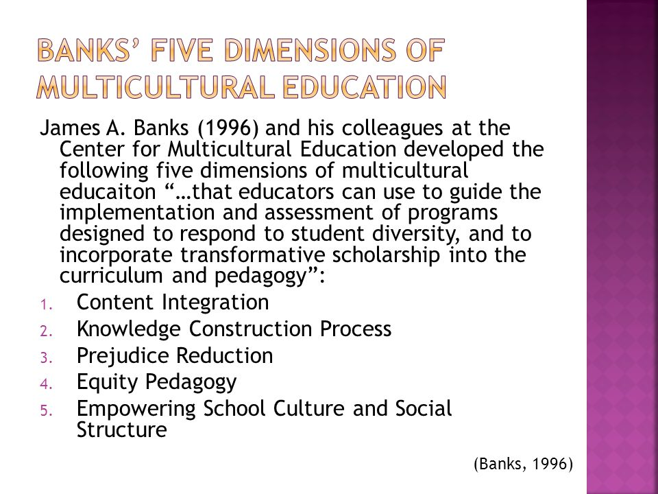 Banks' Five dimensions of Multicultural Education