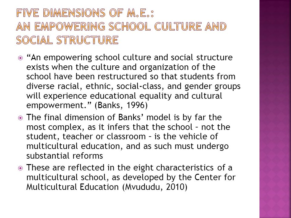 Five Dimensions of M.E.: An Empowering School Culture and Social Structure