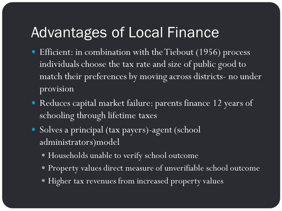 Advantages of Local Finance