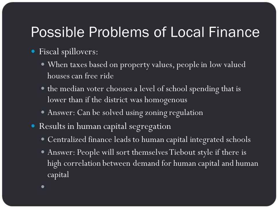 Possible Problems of Local Finance