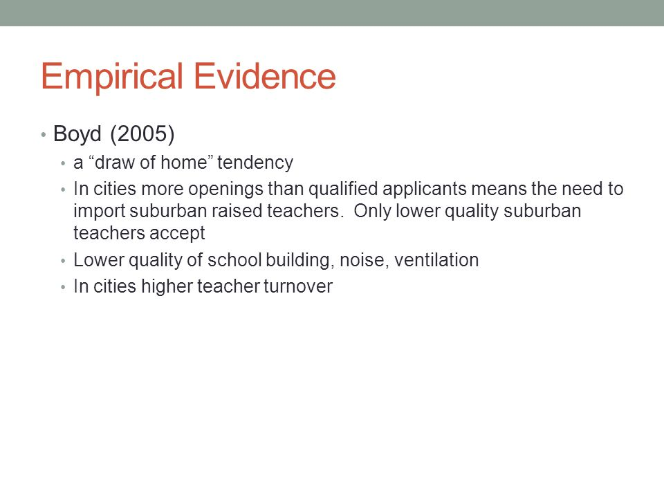 Empirical Evidence Boyd (2005) a draw of home tendency