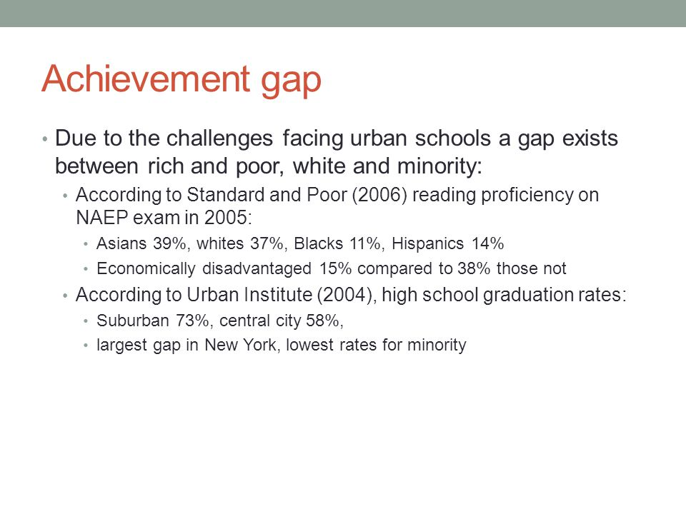 Achievement gap Due to the challenges facing urban schools a gap exists between rich and poor, white and minority: