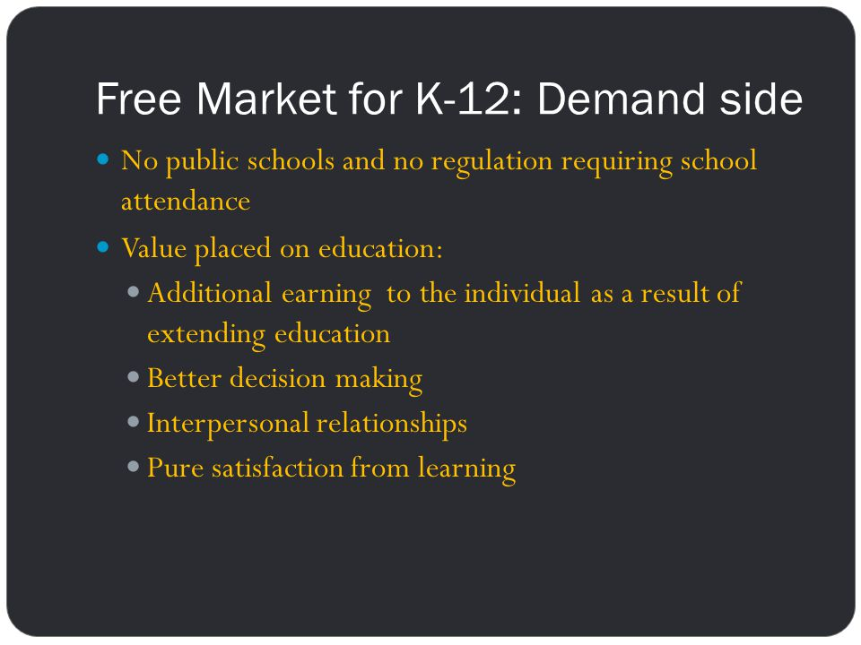 Free Market for K-12: Demand side