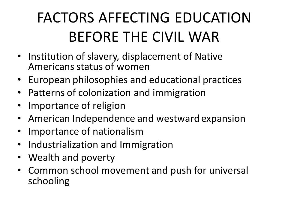 FACTORS AFFECTING EDUCATION BEFORE THE CIVIL WAR