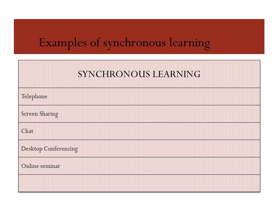 Examples of synchronous learning