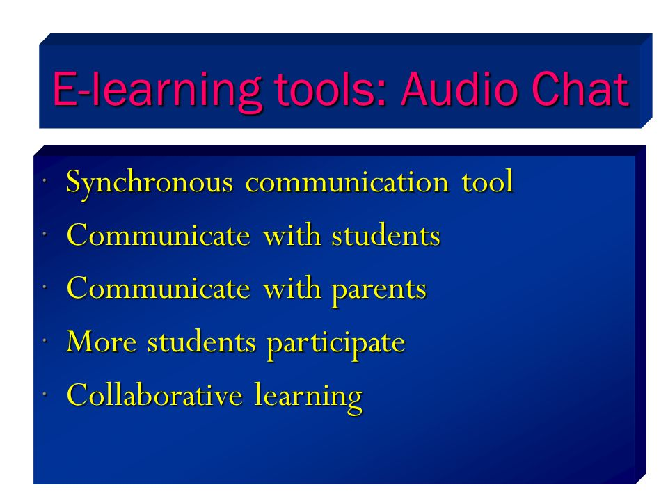 E-learning tools: Audio Chat