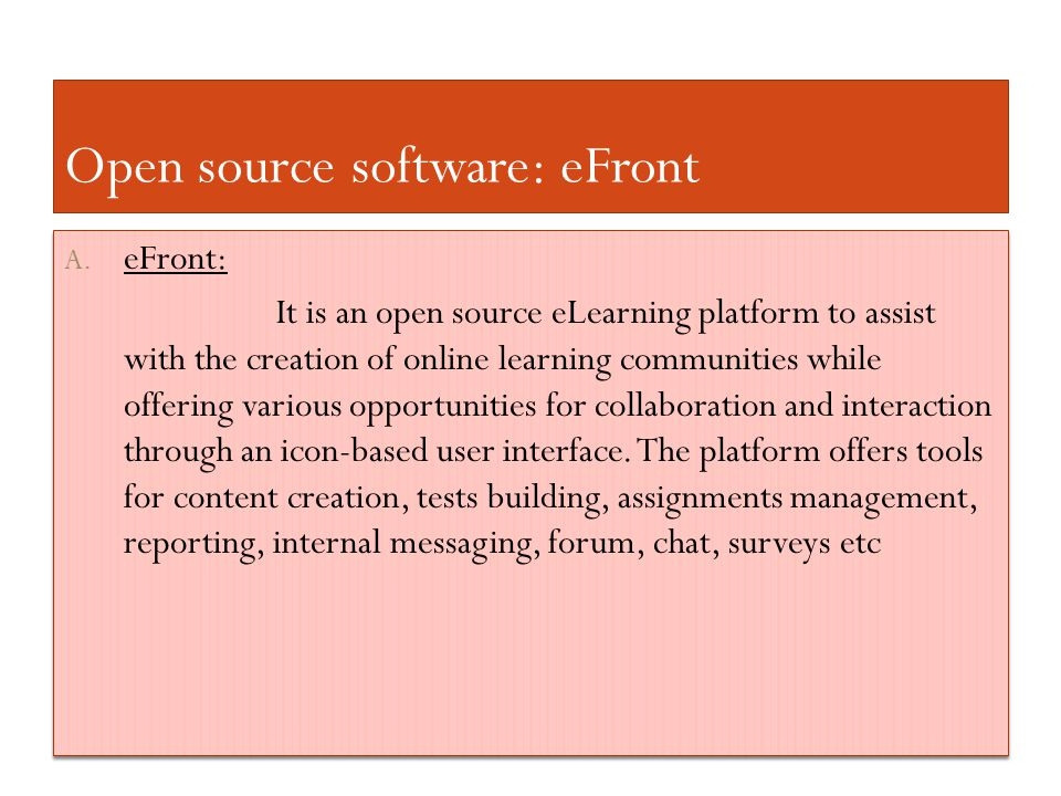 Open source software: eFront