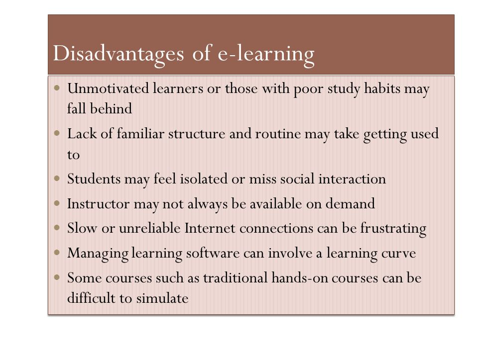 Disadvantages of e-learning
