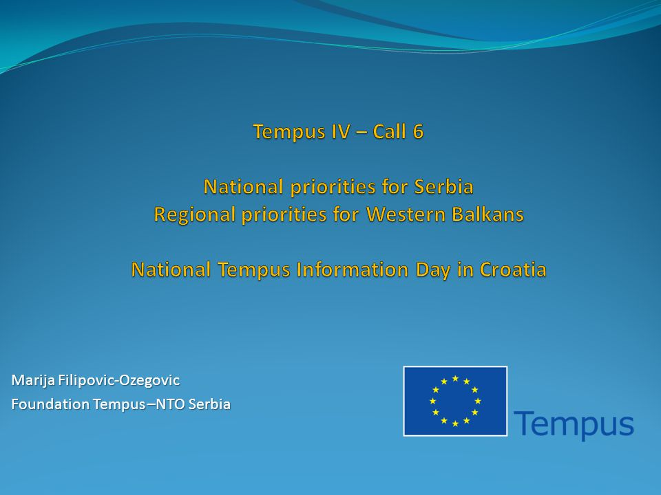 Marija Filipovic-Ozegovic Foundation Tempus –NTO Serbia