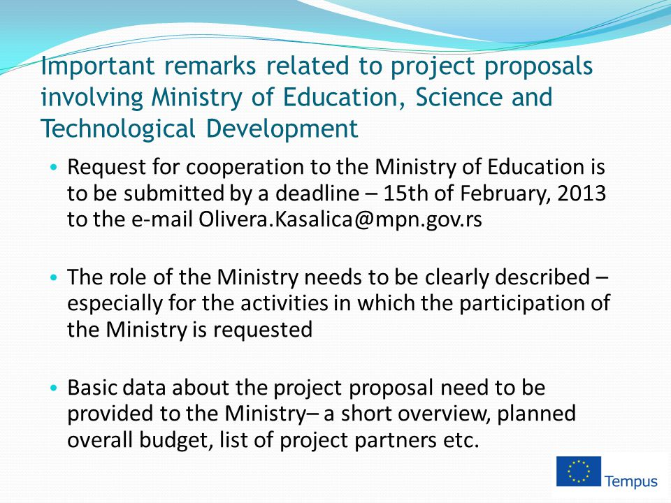 Important remarks related to project proposals involving Ministry of Education, Science and Technological Development