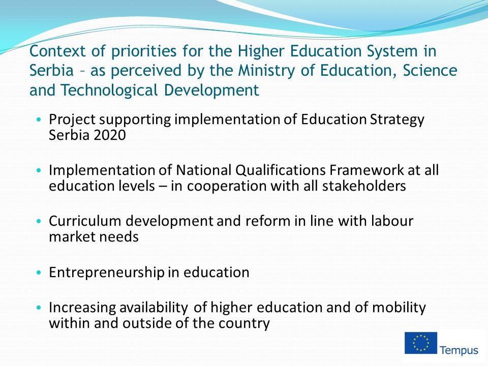 Context of priorities for the Higher Education System in Serbia – as perceived by the Ministry of Education, Science and Technological Development