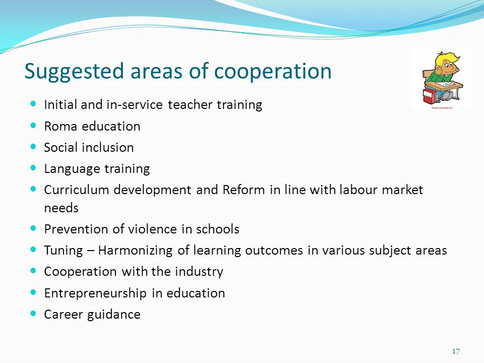 Suggested areas of cooperation